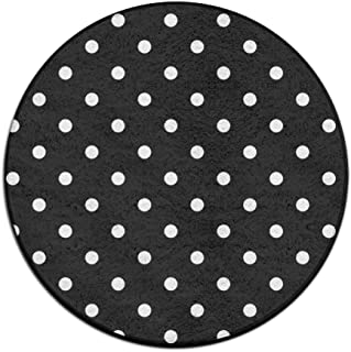 Machine Washable Round Area Rug Modern Bedroom Floor Chair Mat - Black Polka Dot