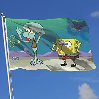 LJIAQI Spongebob with Brother Octopus Flag 3x5 Ft Single-Sided Printed Polyester Home Flag Banner