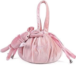 IYOU Terciopelo Perezoso Bolso de Cosméticos Rosa Cordón Bolsas de maquillaje Portátil Viaje Organizador de bolsas Linda C...
