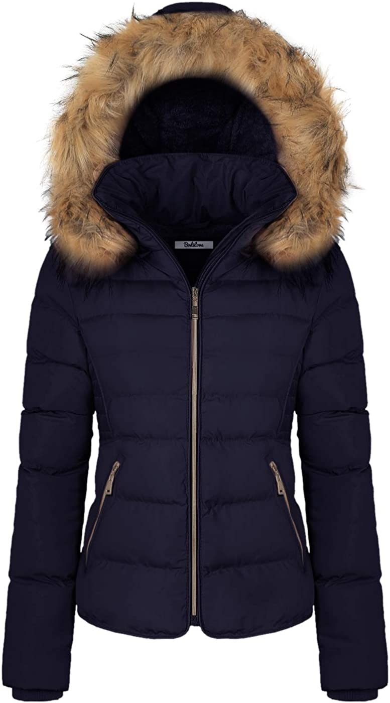 BodiLove Women's Winter Quilted Puffer Coat Jacket safety Short El Paso Mall with Re