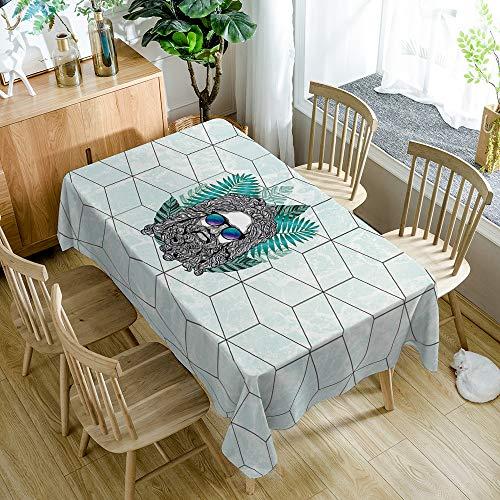 Tafelkleed geometrisch patroon oude man hoofd moderne minimalistische rechthoekige keuken huishoudelijke artikelen 55x78 inch