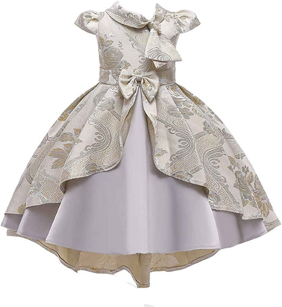 WAWALI Children Kids Beaded Bowknot Tail Dress Formal Flower Girls Princess Elegant Wedding Party Dresses