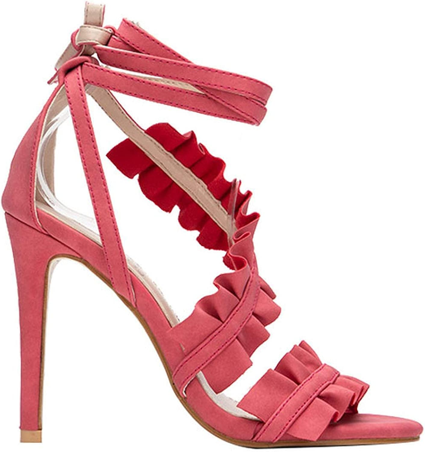 Ankle Strap High Heels Sandals Women Ruffles Sandals Summer shoes Solid Lace-Up Chaussure Talon
