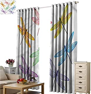 Fakgod Window Curtain Dragonfly Colored Elongated Patches for Bedroom Grommet Drapes W96x72L