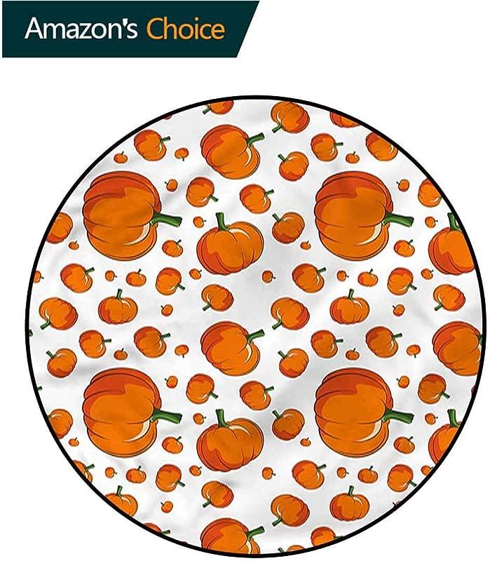 RUGSMAT Pumpkin Area Rugs Ring 3D Non Slip Rug Halloween Festival Symbol Door Mat Indoors Bathroom Mats Non Slip Diameter 59