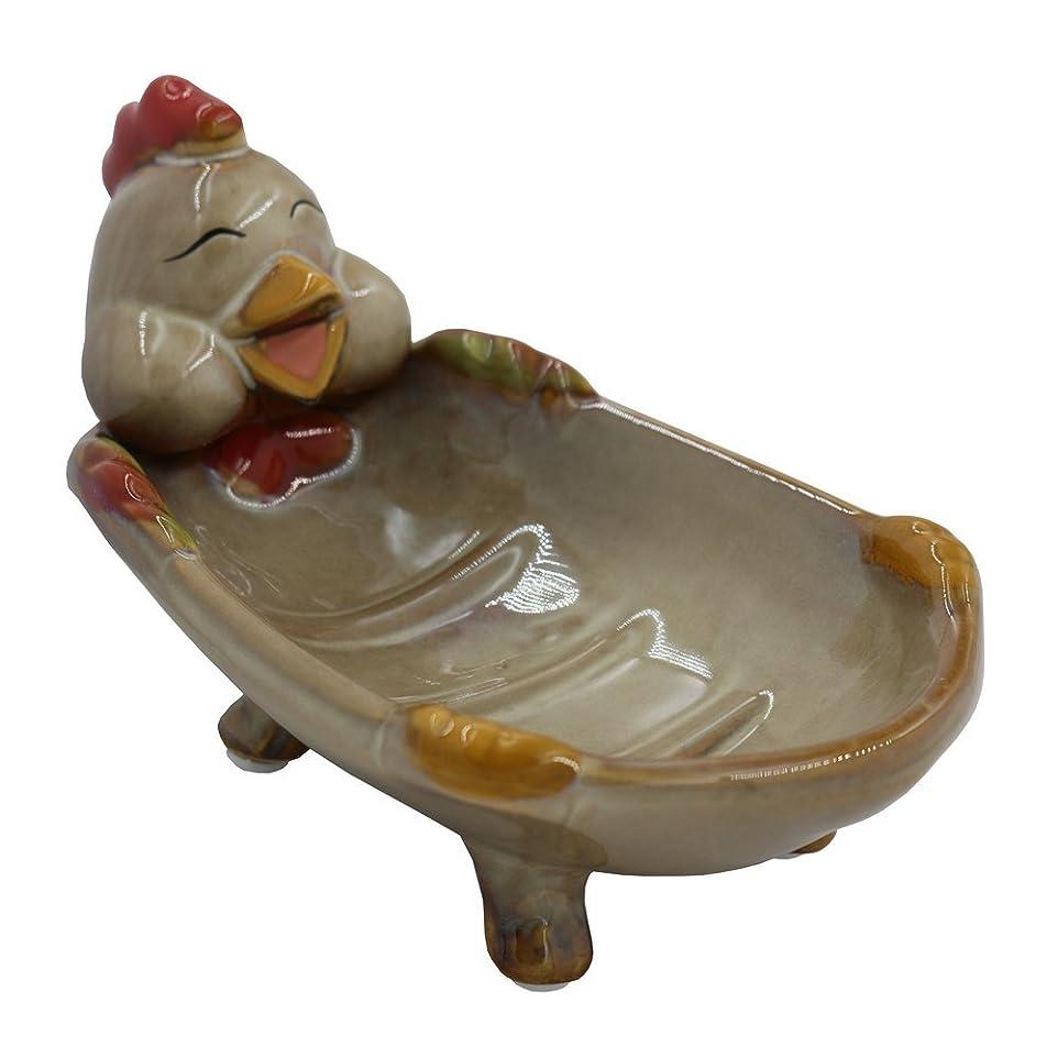 ジャンクション枯渇鉱石simpletome 陶器のソープディッシュ 石鹸皿 かわいい動物 (チキン)