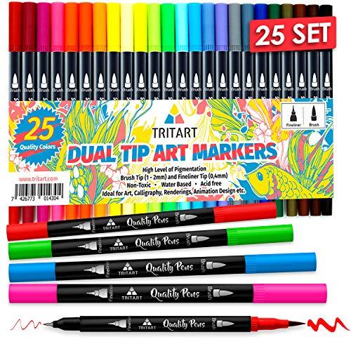 Dual Brush Pens Pinselstifte Set I 25 Filzstifte Dicke & Dünne Seite I Universal...