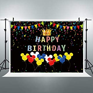 Riyidecor Mouse Backdrop Colorful Happy Birthday Celebration Kids Spot Black 7x5 Feet Photography Background Booth Children Decorations Event Props Party Photo Vinyl