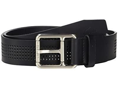 Lacoste Perforated Leather Belt w/ Roller Buckle (Black) Men
