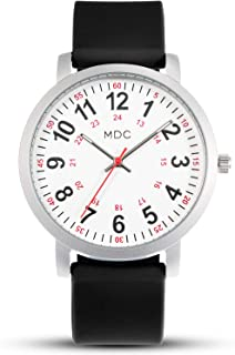 Nursing Watches for Nurses Medical Watch with Second Hand Womens Waterproof Wrist Watches for Women 24 Hour Analog Quartz Wristwatch with Black Silicone Strap by MDC