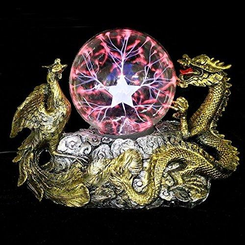 Bazaar Gold Dragon Phoenix Basis Plasma Kugel magische Beleuchtung Kugel Tesla Lampe