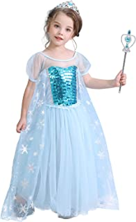 HNXDYY Elsa Snow Princess Costumes Sequin Dress for Girls Cosplay Fancy Party Outfit