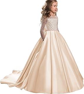 b5c4d1001 Christmas Flower Girl Dress Floor Length Button Draped Tulle Ball Gowns for  Kids