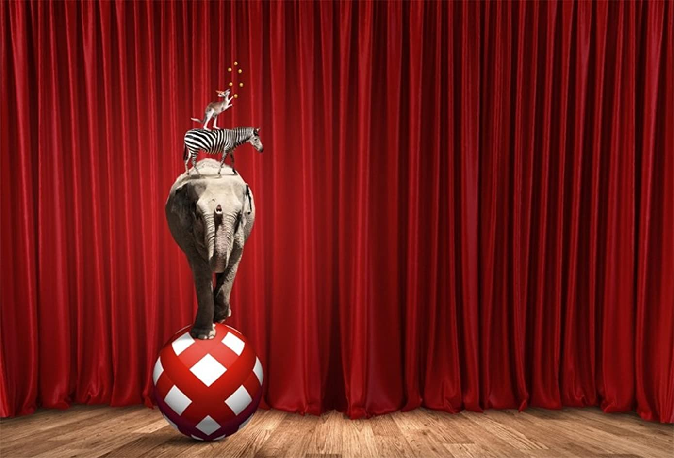 DaShan 5x3ft Photography Backdrop Circus Red Ball Elephant Zebra Red Carpet Cintage Stripes Wood Floor Photo Background Backdrops Photography Video Party Kids Personal Portrait Photo Studio Props