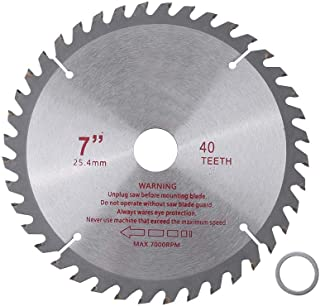7'' 40 Teeth Silver Circular Saw Blade Cemented Carbide Wood Cutting Wheel Disk Rotary Tool Bore Diameter 25.4mm