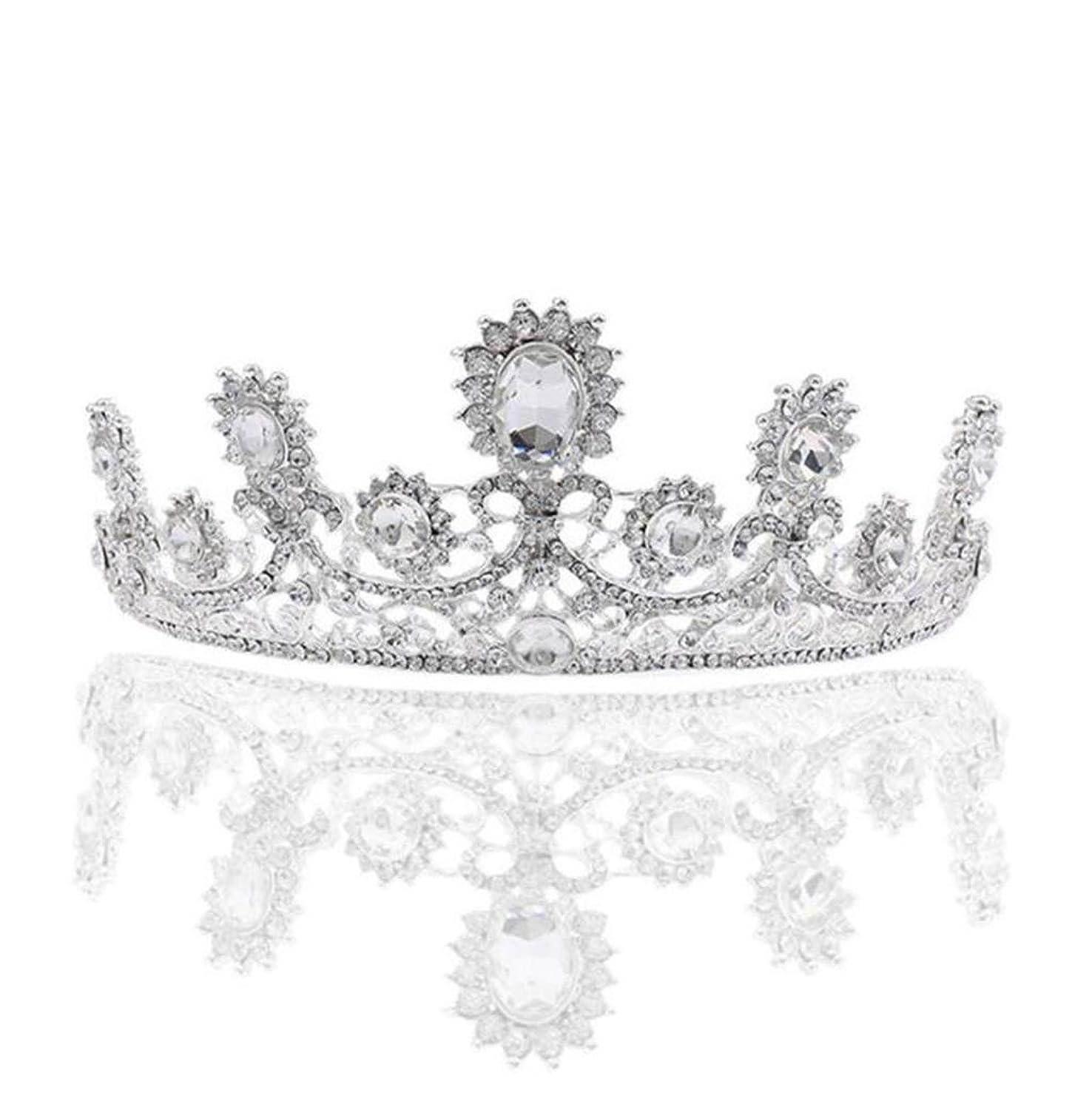 髪の王冠の花嫁の頭飾り白のユニークなクリスタルクラウンの女王高級合金の髪の王冠の花嫁のドレスの宝石類 (色 : A)