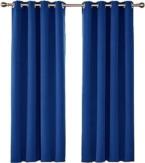 UMI. by Amazon - Cortinas Salón Opacas Térmicas Aislantes Frío y Calor para Ventanas Suaves con Ojales 2 Paneles 117x183cm Azul Oscuro
