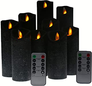 Kitch Aroma Black flameless Candles, Battery Operated LED Pillar Candles with Moving Flame Wick with Remote Timer,Pack of 9