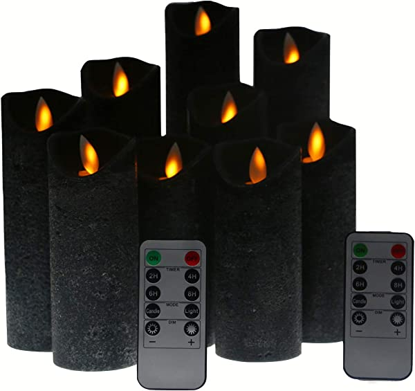 Kitch Aroma Black Flameless Candles Battery Operated LED Pillar Candles With Moving Flame Wick With Remote Timer Pack Of 9