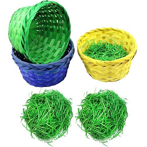 com-four® Set de decoración y Regalo de 6 Piezas para Pascua - cestas de Rafia clásicas y Coloridas Pasto Verde de Pascua - cestas de Pascua (Cesta con Hierba Set 3)