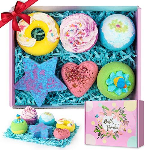 Bath Bombs, 6pcs Bath Bomb Gift Set Bubble Bath Fizzy Spa Kit for Kids Boys Girls Girlfriend Her Women Birthday Valentines Easter Christmas