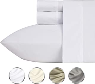 1000-Thread-Count 100% Pure Cotton Bed Sheets on Amazon 4 Pc Queen Size White Sheet Set - Single Ply Long Staple Combed Cotton Yarns, Best Luxury Sateen Weave, Fits Mattress Upto 20'' Deep Pocket