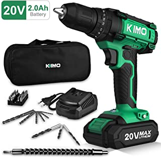 Cordless Drill Driver Kit, 20V Max Impact Hammer Drill Set w/Lithium-Ion Battery, Fast..