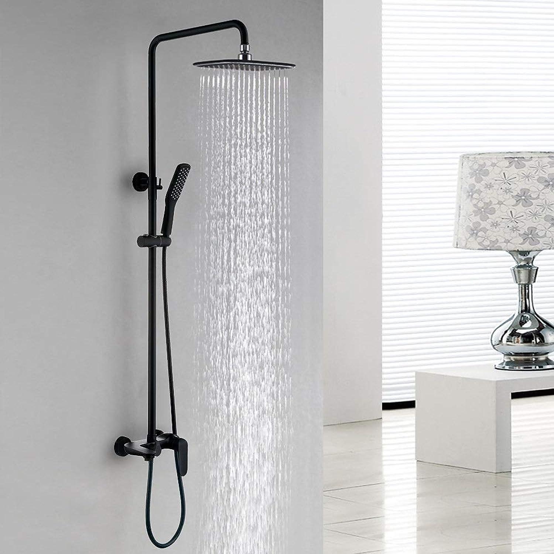 RJJ Bad Handbrause Duschset Multifunktionale Mattschwarze Badewanne Duscharmatur System Wasserhahn Luxuris