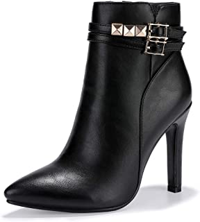 Women's Fashion Buckle Ankle Boots 4 Inch Pointed Toe High Heels Studded Side Zipper Booties