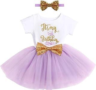 FYMNSI Enfant Bébés Filles C'est Mon 1er / 2ème Anniversaire Robe Princesse Manche Courte 1 an 2 Ans Fête Vêtements Premie...
