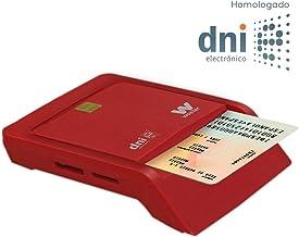 WOXTER Lector Dni Combo - Lector DNI electrónico, Compatible con Las Tarjetas Smart Cards o Tarjetas Inteligentes, con 3 Ranuras para Tarjetas, Color Rojo