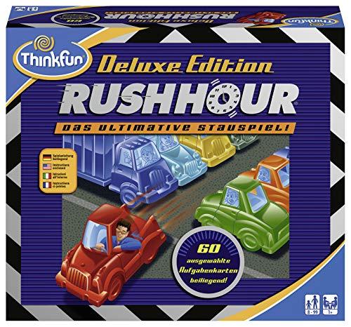 ThinkFun 76305 Rush Hour – El Famoso Juego de congestión en la edición Deluxe con vehículos en Aspecto metálico, Juego lógico para Adultos y niños a Partir de 8 años