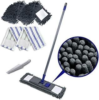 Microfiber Flat Mop with 2PCS Replaceable Mop Pads Stainless Steel Handle Magic Dust Cleaning Mop for Hardwood Floors Mast...