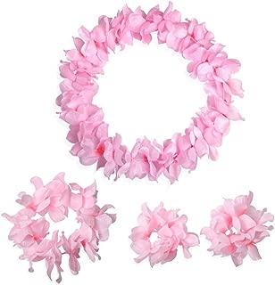 CISMARK Hawaiian Luau Flower Leis Jumbo Necklace Bracelets Headband Set
