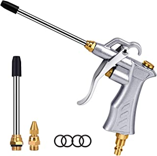 Professional Air Blow Gun with Copper Adjustable Air Flow Nozzle and 2 Steel Air flow Extension, Pneumatic Air Compressor Accessory Tool Dust Cleaning Air Blower Nozzle Gun