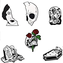 CheeseandU 6Pack Halloween White Skull Enamel Pins Skeleton Couples Half Women Half Skull Pin Punk Romantic Rose Coffin Tomb Halloween Enamel Badges Brooches Pins For Holiday Party Friends Gift