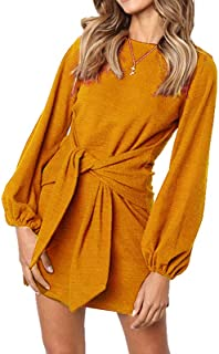 Women's Loose Casual Front Tie Long Sleeve Bandage Party Dress