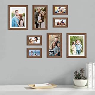 Art Street Set of 8 Brown Wall Photo Frame, Picture Frame for Home Decor with Free Hanging Accessories (Size - 4x6, 6x10, ...