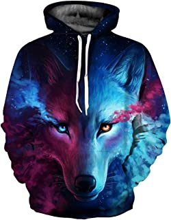 Leoie Men's and Women's 3D Wolf Printed Hoodie Cool Animal Sweater Fashionable Pullover (Multicolor, Medium)