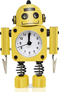 Betus Non-Ticking Robot Alarm Clock Stainless Metal - Wake-up Clock with Flashing Eye Lights and Hand Clip (Yellow)