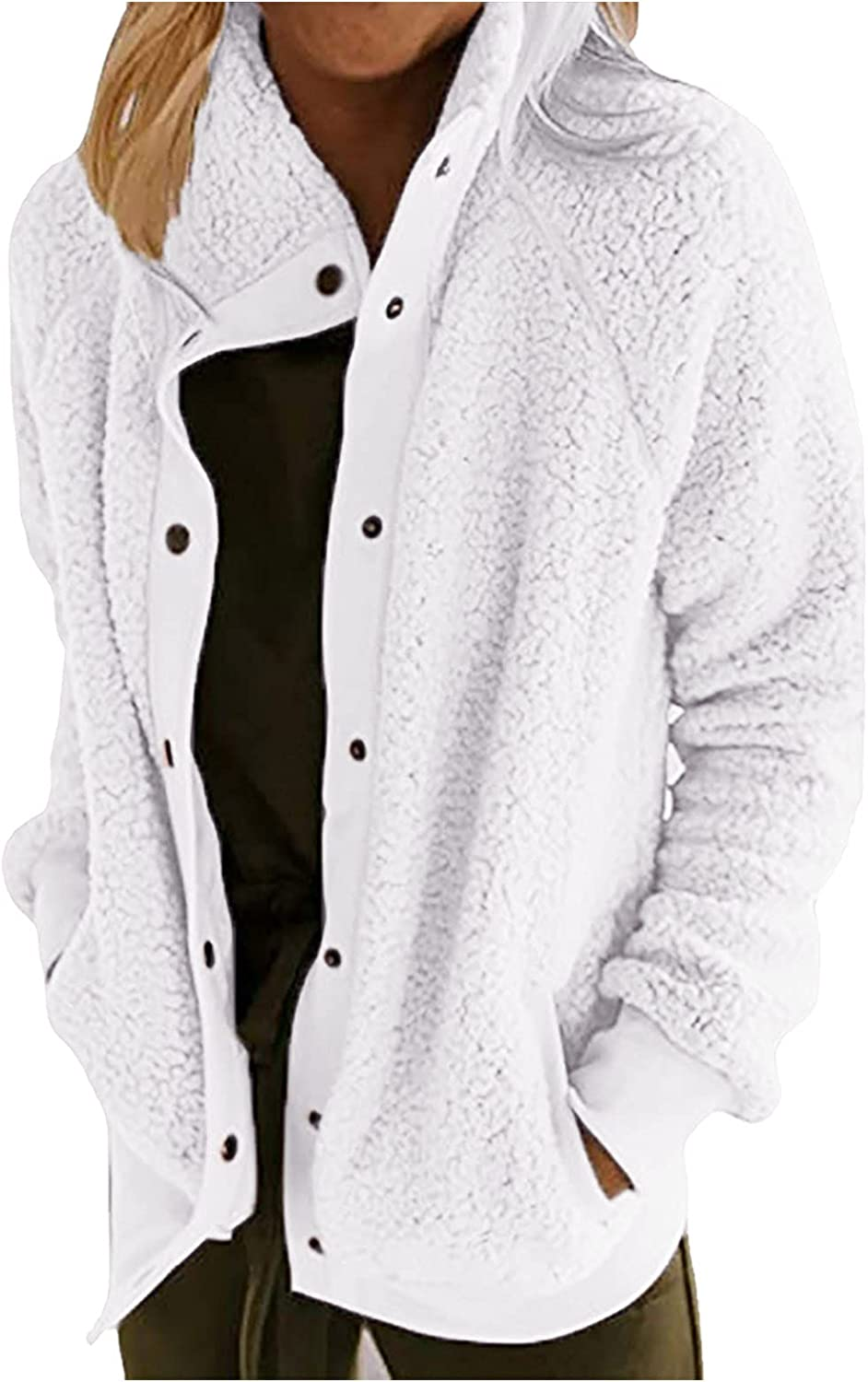 Women Plush Open Front Cardigan Full Ranking TOP4 Mail order - Solid Long-Sleeved Botton