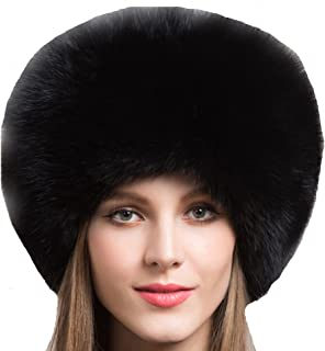 Valpeak Women's Genuine Fox Fur Hat with Tail Winter Mongolian Hats