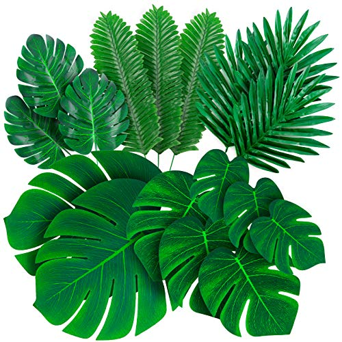 Palm Leaves Artificial Tropical Monstera - 84 Pcs 6 Kinds Large Small Green Fake Palm Leaf Decorations with Stems for Safari Jungle Hawaiian Luau Party Table Decoration Wedding Birthday Theme Party