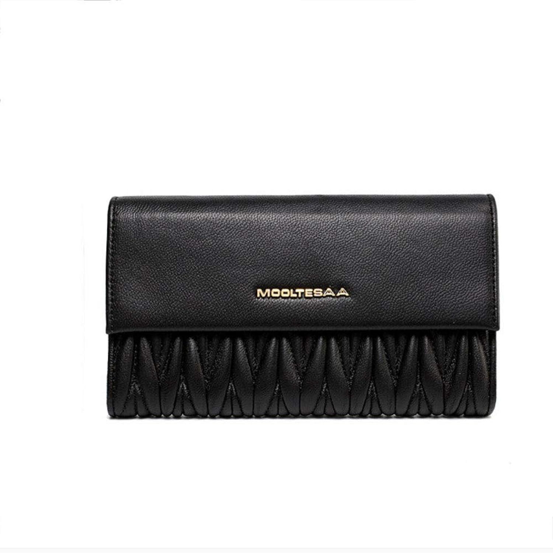 HWX Schnalle Damen Brieftasche kreative Falten Leder Brieftasche Handytasche koreanische Version der Langen beiläufigen Handtasche (Farbe   Schwarz, Größe   17.3cm3cm9.8cm) B07K27GNPF