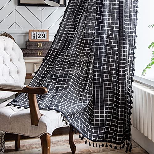 FACWAWF Simple Impresión De Celosía Geométrica Negra Cortinas De Borlas Negras Cocina Dormitorio Sala De Estar Balcón Semi Sombreado Cortina De Algodón Y59x87 Inch(150x220cm)