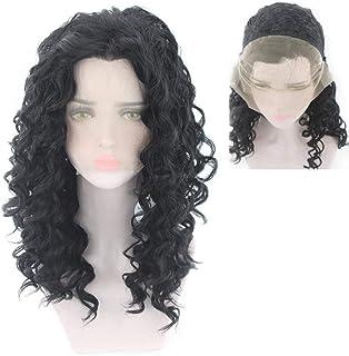 شعر مستعار حقيقي من البيروفي الأسود من إليجدي، شعر مستعار بدانتيل كامل طبيعي عصابة رأس لحفلات الهالوين