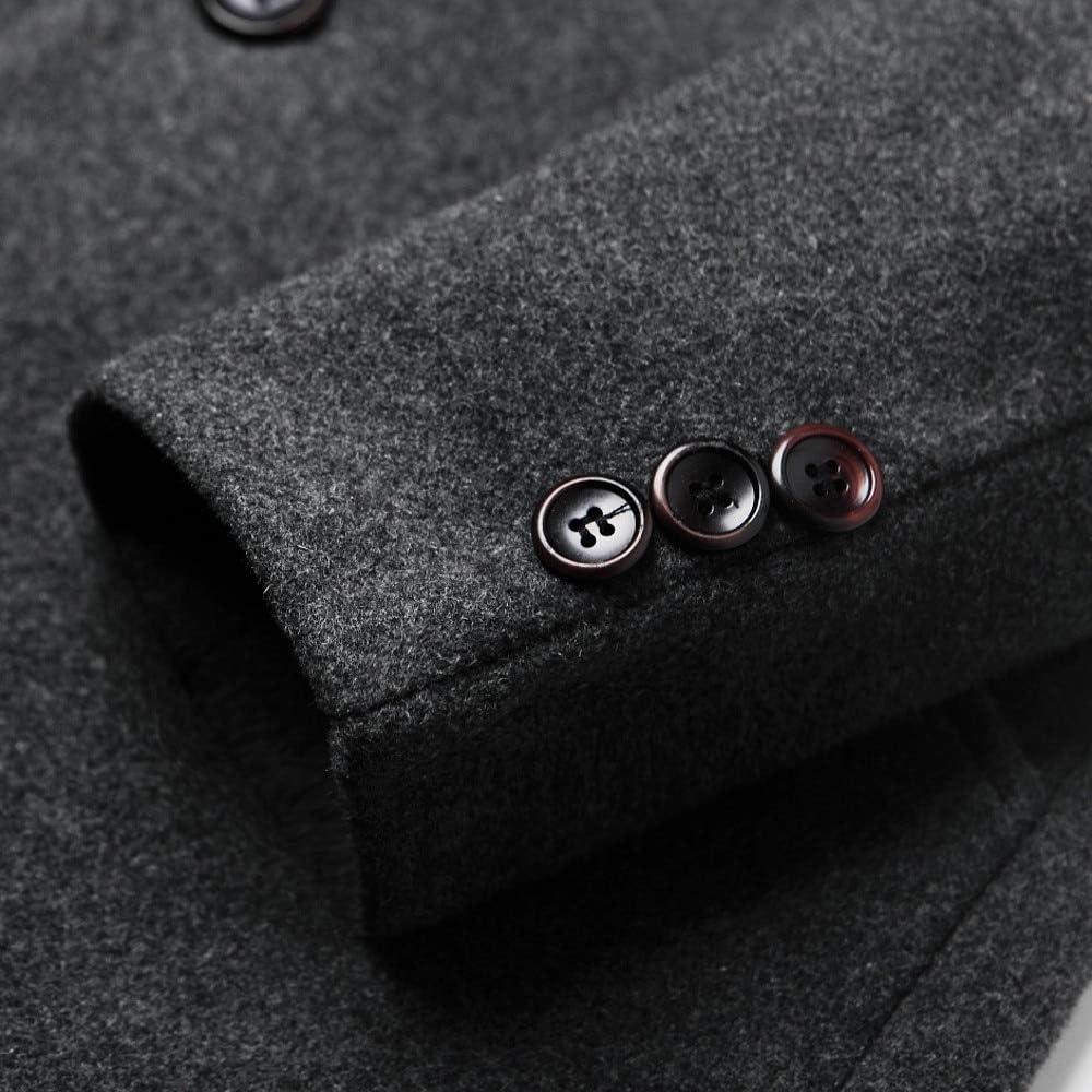 Nomber 3 Colors Men's Autumn Winter Casual Medium Length Lapel Woollen Windbreaker Jacket Coat Wool Blend Trench Overcoat