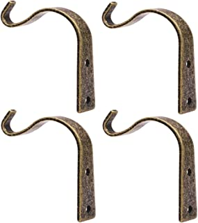 Iron Wall Hooks Metal Heavy Duty Plant Hanger Bracket Coat Hook Decorative Hook for Small Plants Hanging Lanterns Coat Hangers Hanging Home Decor (Bronze 4 Pack)