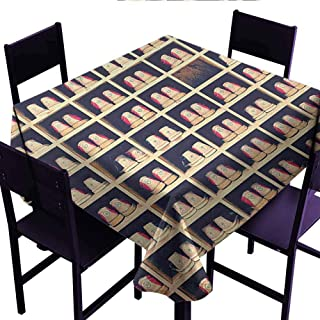 Outdoor Tablecloth Bowling Party,Collection of Bowling Shoes in Their Rack Vintage Style Print,Pale Yellow Red Black,for Banquet Decoration Dining Table Cover 36