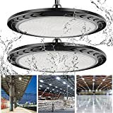 2 Pack 6500k UFO LED High Bay Light 100W Led Shop Bay Garage Light 10000lm IP65 Waterproof Workshop Commercial Industrial Daylight Lighting Fixture for Warehouse/Barn/Factory with Safety Hanging Chain